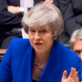 Prime Minister Theresa May speaks during the debate on the government no-confidence motion in the House of Commons yesterday