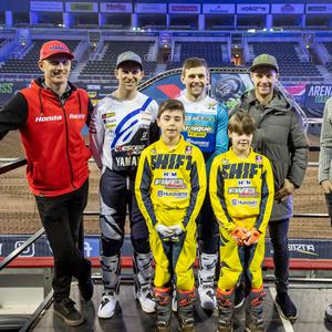 Switching codes: Jonathan Rea joins motocross stars (left to right) Gordon Crockard, Martin Barr, Glenn McCormick and Graeme Irwin, along with promising young stars Cole and Robbie McCullough to promote this week's Arenacross Tour at the SSE Arena