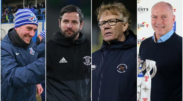 Loughgall manager Dean Smith, Ballyclare's Stephen Hughes, Ballinamallard boss Harry McConkey and Welders chief Norman Kelly are all hoping to end Saturday in the Championship's top six.