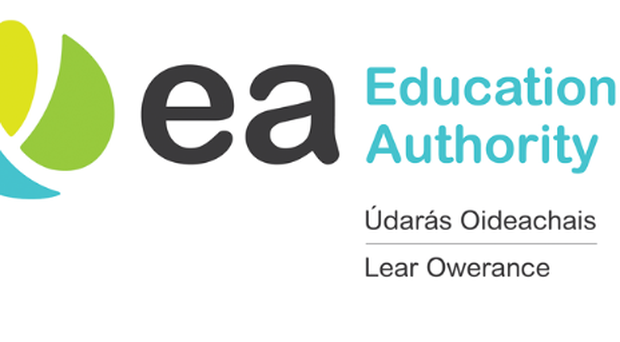 Irish language translations were dropped from the Education Authority's branding in 2016.