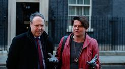 Northern Ireland's Democratic Unionist Party (DUP) leader Arlene Foster and deputy Nigel Dodds speak to the press outside Downing street. (Photo by Daniel LEAL-OLIVAS / AFP)DANIEL LEAL-OLIVAS/AFP/Getty Images