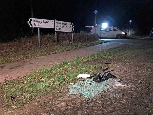 The scene near to the Sandringham Estate where the Duke of Edinburgh was involved in a road accident while driving. Pic: Sam Russell/PA Wire