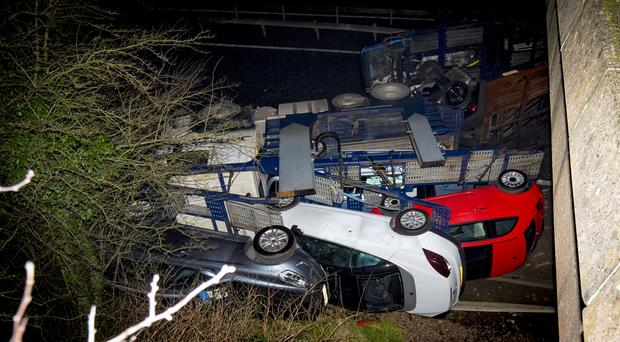 The scene of a major crash on the M1 at Junction 11 outside Craigavon where a lorry has shed its load on January 17th 2019 (Photo by Kevin Scott / Belfast Telegraph)