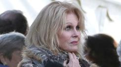 oanna Lumley leaves All Hallows Church in Tillington, West Sussex, after the funeral of actress Dame June Whitfield (Andrew Matthews/PA)