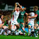 On the ball: Ulster's Chris Henry up against Leicester back in 2014