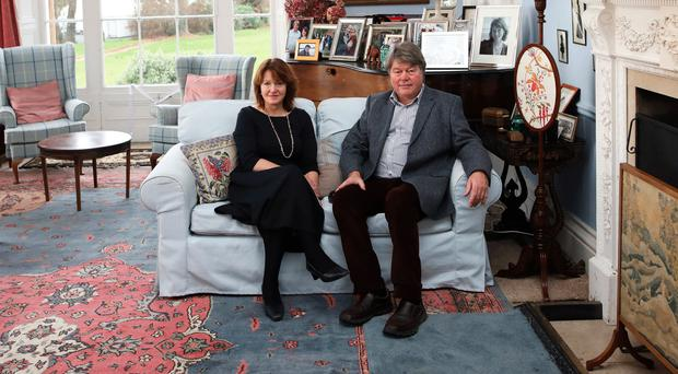 Rosalind Mulholland and her husband Richard in the drawing room at Ballyscullion Park, Bellaghy