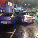 Multiple vehicles were damaged in the incident on Main Street in Bangor. Credit: PSNI
