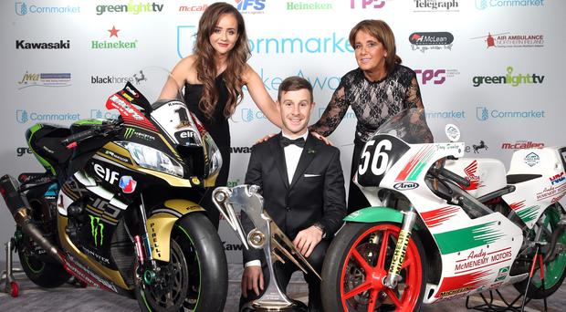 Jonathan Rea with Janine Brolly, the partner of William Dunlop and William's mother, Louise. William, who lost his life in a crash at the Skerries 100 in July. PICTURE BY STEPHEN DAVISON
