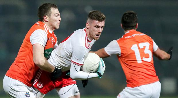 Tyrone's Declan McClure in action in the McKenna Cup final.