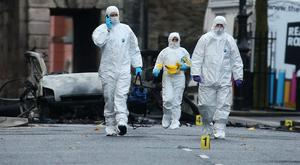 The scene outside Derry Court House on Bishop Street following a bomb explosion. Photo by Lorcan Doherty / Press Eye.