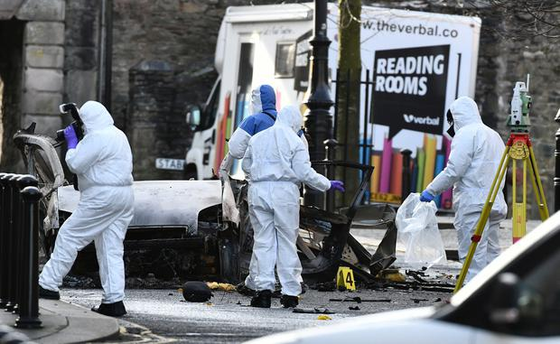 Forensic officers at the scene of last nights van bomb attack on Derry Court house. Photo Colm Lenaghan/Pacemaker Press