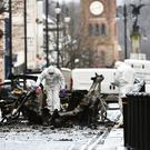 A bomb exploded inside a car at the courthouse on Saturday night. Photo Colm Lenaghan/Pacemaker Press