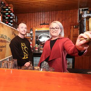 Anna-Marie McFerran manages The Old Thatch Inn Castledawson and bar manager Dominic Diamond. It is a traditional pub with homecooked food and music nights Friday to Sunday. (Photo by Colm O'Reilly, Sunday Life 28-12-2018 )