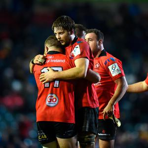 Iain Henderson and Andy Warwick celebrate Saturday's win over Leicester