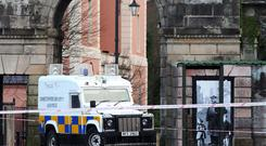 The scene outside Derry Courthouse on Bishop Street following a bomb explosion. Photo by Lorcan Doherty / Press Eye.