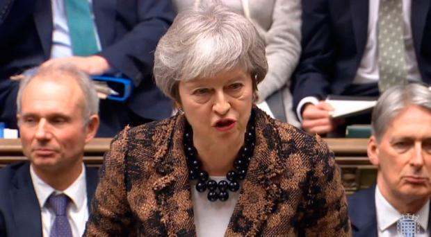 Prime Minister Theresa May makes a statement to MPs in the House of Commons, London on her new Brexit motion. Photo credit: PA Wire