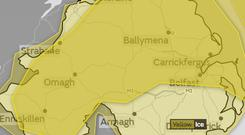 A yellow weather warning for ice has been issued for Northern Ireland. Credit: Met Office.