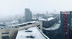 The view from Belfast's Obel Tower. Picture by Andrew Hanoman. January 22, 2019