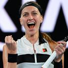 Job done: Petra Kvitova cheers after winning her quarter