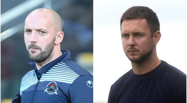 Institute's Paddy McLaughlin (left) and Warrenpoint Town chief Stephen McDonnell (right) are in the running to become the next Cliftonville manager.