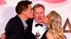 John Barrowman, Harry Redknapp and Emily Atack with The Bruce Forsyth Entertainment Award in the Press Room for I'm a Celebrity get me out of here at the National Television Awards 2019 held at the O2 Arena, London. PRESS ASSOCIATION PHOTO. Picture date: Tuesday January 22, 2019. See PA story SHOWBIZ NTAs. Photo credit should read: Ian West/PA Wire