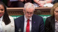 Labour leader Jeremy Corbyn listens during Prime Minister's Questions in the House of Commons, London. Pic PA wire