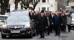 Funeral of Wayne Boylan in Warrenpoint on Wednesday morning. Photo: Pacemaker.