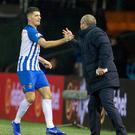Kilmarnock's Jordan Jones celebrates his winning goal with manager Steve Clarke.