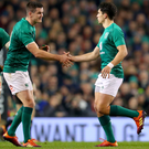 Growing rivalry: Jonathan Sexton (left) is Ireland's main man but rising star Joey Carbery (right) is keen to take over that mantle