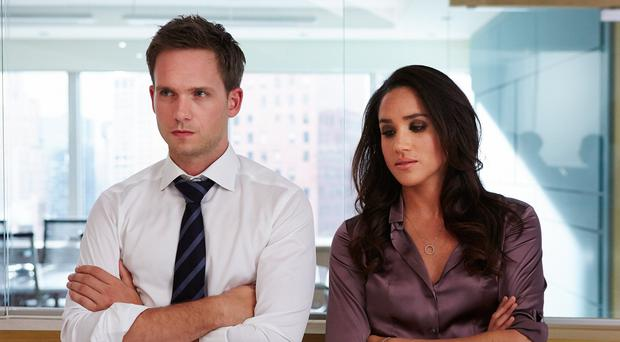 Meghan Markle with Patrick J Adams in Suits