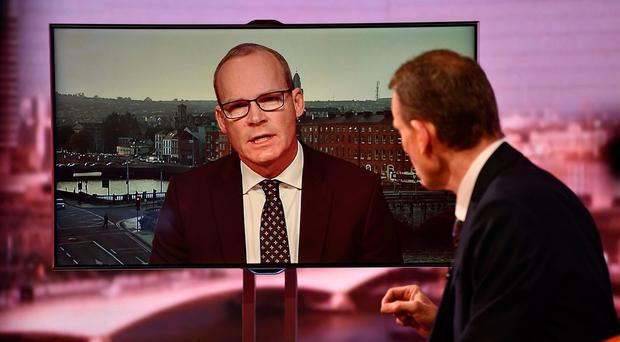 Simon Coveney interviewed by Andrew Marr on the BBC1 current affairs programme, The Andrew Marr Show. Pic BBC