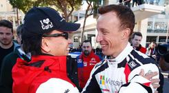 Happy man: congratulations for Kris Meeke after his Power Stage win