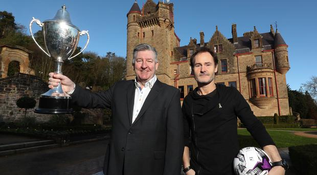 Major lift: Northern Ireland football legend Norman Whiteside and Alan Clarke, CEO of STATSports, at the announcement of the new SuperCupNI headline sponsor STATSports at Belfast Castle