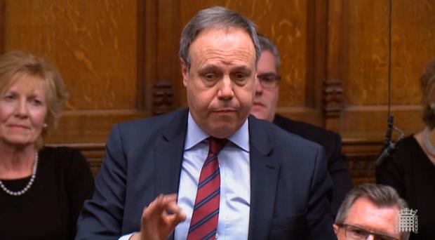 DUP deputy leader Nigel Dodds speaking in the House of Commons on Tuesday. Photo credit: PA Wire.