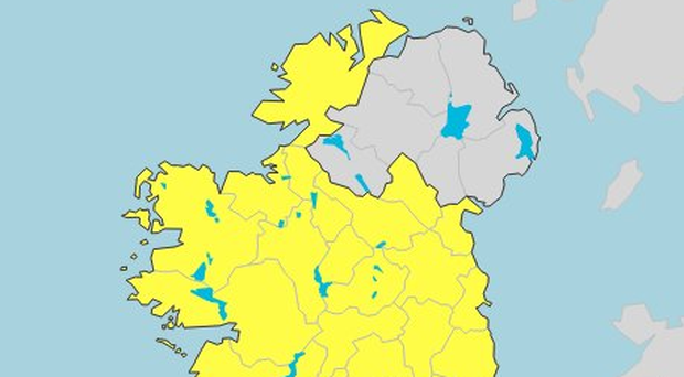A Met Eireann weather warning map. Credit: Met Eireann.
