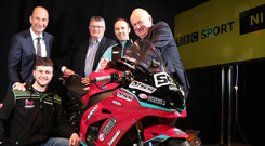 BBC Sport NI's Stephen Watson and BBC Northern Ireland Director, Peter Johnston are pictured with road racers Adam McLean and Alastair Seeley with International NW200 Event Director Mervyn Whyte, MBE, to announce the extension of the BBC broadcasting deal with the NW200