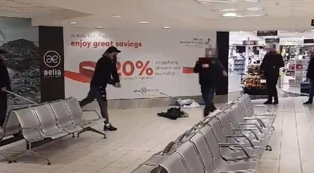 Shocking footage shows group of men fighting in Belfast International Airport