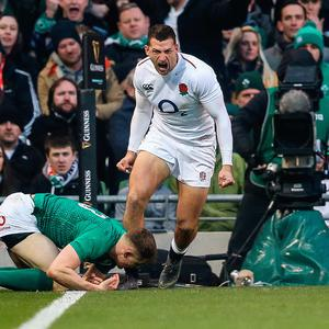 Red Roses blossom: England's Jonny May celebrates his try