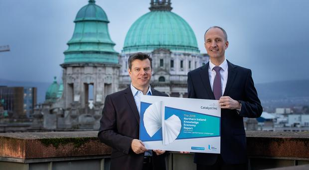 Steve Orr, CEO at Catalyst Inc, launches the 2018 Knowledge Economy Report with Ian Sheppard, NI MD at Bank of Ireland UK