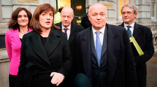 Theresa Villiers, Nicky Morgan, Damian Green, Iain Duncan Smith and Owen Paterson leave the Cabinet Office in Westminster, London yesterday