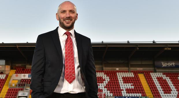 New era: Paddy McLaughlin is unveiled at Solitude yesterday.