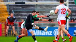 Making a point: Goalkeeper Niall Morgan has been chipping in on the Tyrone scoring charts