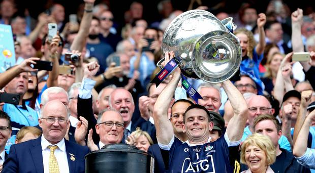 Dublin captain Stephen Cluxton lifts the Sam Maguire trophy in 2018.