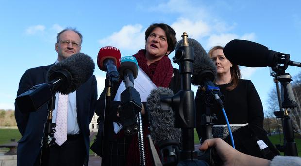 DUP Leader Arlene Foster speaks to the media as the DUP met with PM Theresa May during her visit to Northern Ireland. Photo Colm Lenaghan/Pacemaker Press