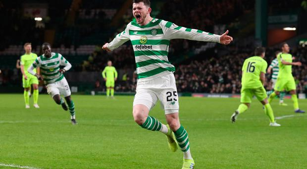Celtic's Oliver Burke celebrates scoring his side's second goal of the game during the Ladbrokes Scottish Premiership match at Celtic Park, Glasgow.