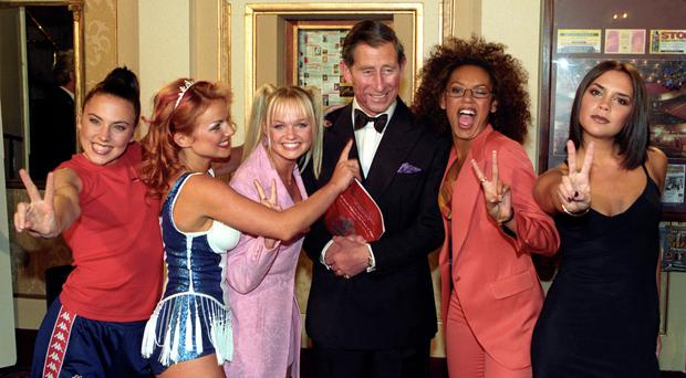 The Prince of Wales with the Spice Girls at the Royal Gala celebrating the Princes Trust 21st Anniversary (John Giles/PA)
