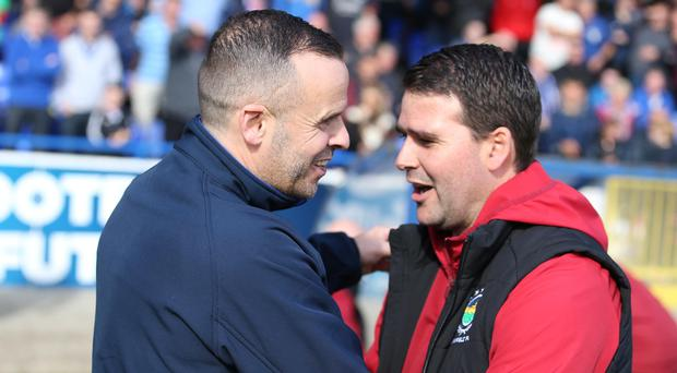 Blues brothers: Coleraine boss Rodney McAree is relishing the challenge of taking on David Healy's Linfield