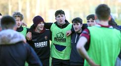 Leading by example: Tom Stewart, captain of BRA First XV (centre), with team-mates during training at Mallusk