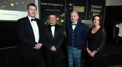 Pictured at the Institute of Directors Northern Ireland (IoD NI) Annual Dinner held at the Crowne Plaza Hotel, Belfast, from left: Dale Guest, Director Corporate Banking Northern Ireland at main sponsor Bank of Ireland UK, Gordon Milligan, IoD NI Chairman, guest speaker Martin McCourt, Chairman of Glen Dimplex and Catriona Gibson, Managing Partner of associate sponsor Arthur Cox. The event, which was attended by more than 400 guests heard a warning that Northern Ireland should not be allowed to 'sleep walk into a no deal Brexit', as the clock runs down on negotiations. Photo by Kelvin Boyes / Press Eye