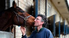 Flu fears: John Berry at his Newmarket stables yesterday during the BHA shut down of racing